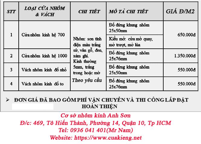 bang bao gia cua nhom kinh he 1000 700 tphcm - Bảng báo giá cửa nhôm hệ 700, 1000 năm 2019