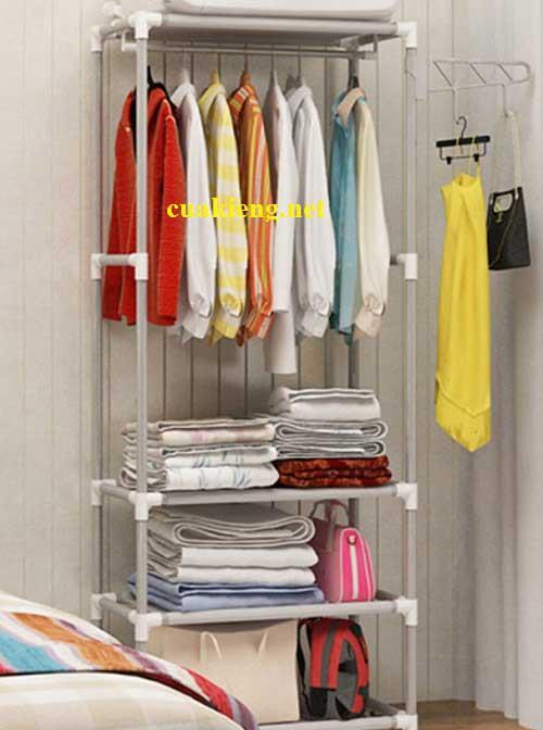 ke treo quan ao shop da nang tphcm - Giá kệ sắt treo quần áo đa năng 03 ngăn 04 tầng giá rẻ tphcm